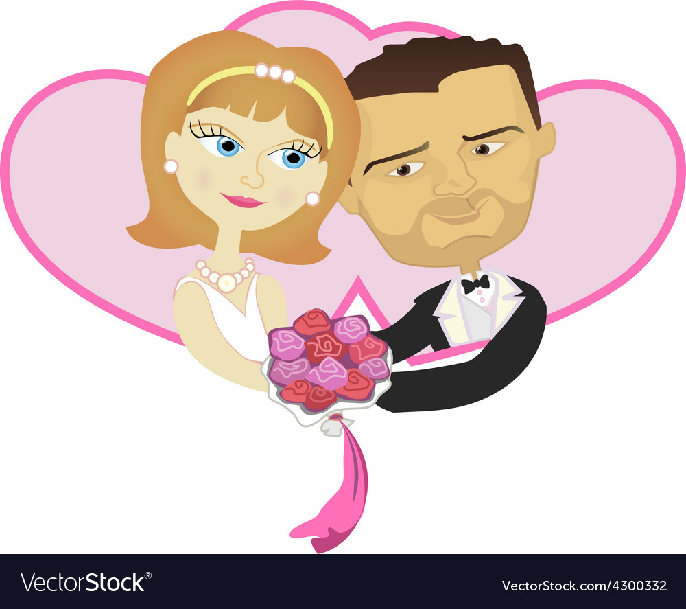 Wedding lovely wife and husband holding in double vector | Price: 1 Credit (USD $1)