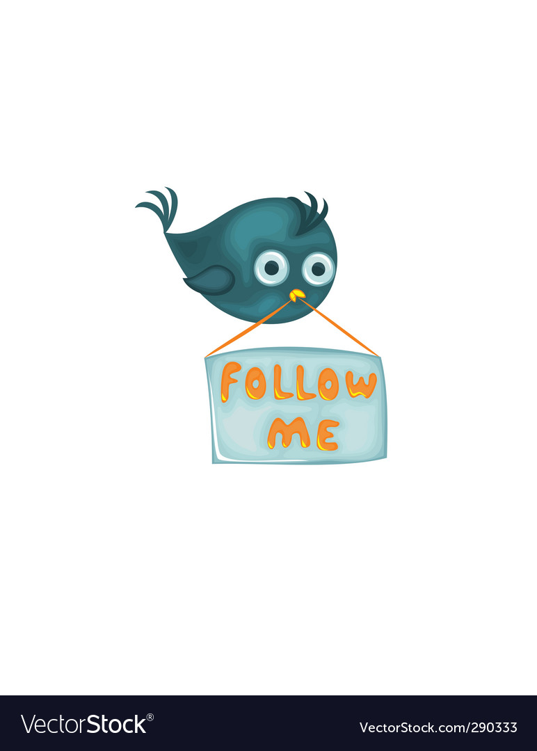 Bird with follow me sign vector | Price: 1 Credit (USD $1)