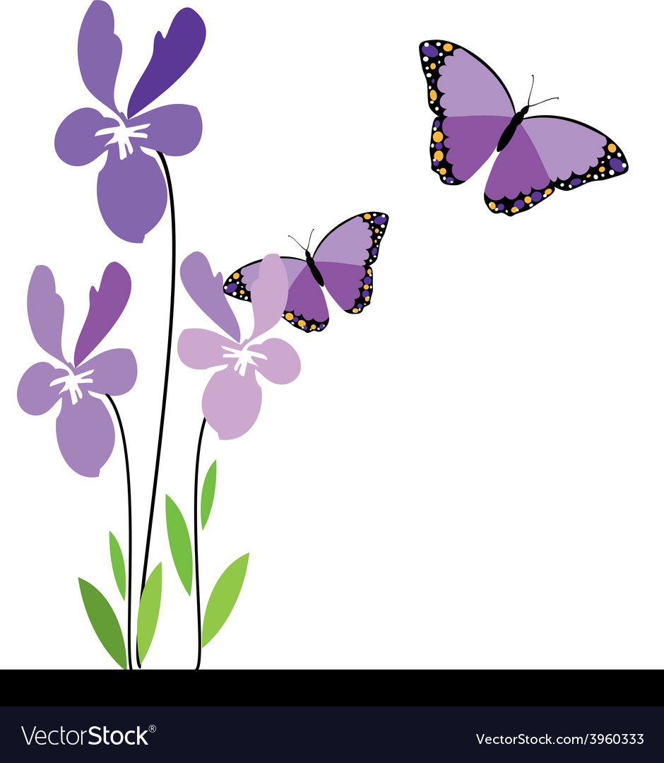 Butterflies and flowers 10 vector | Price: 1 Credit (USD $1)