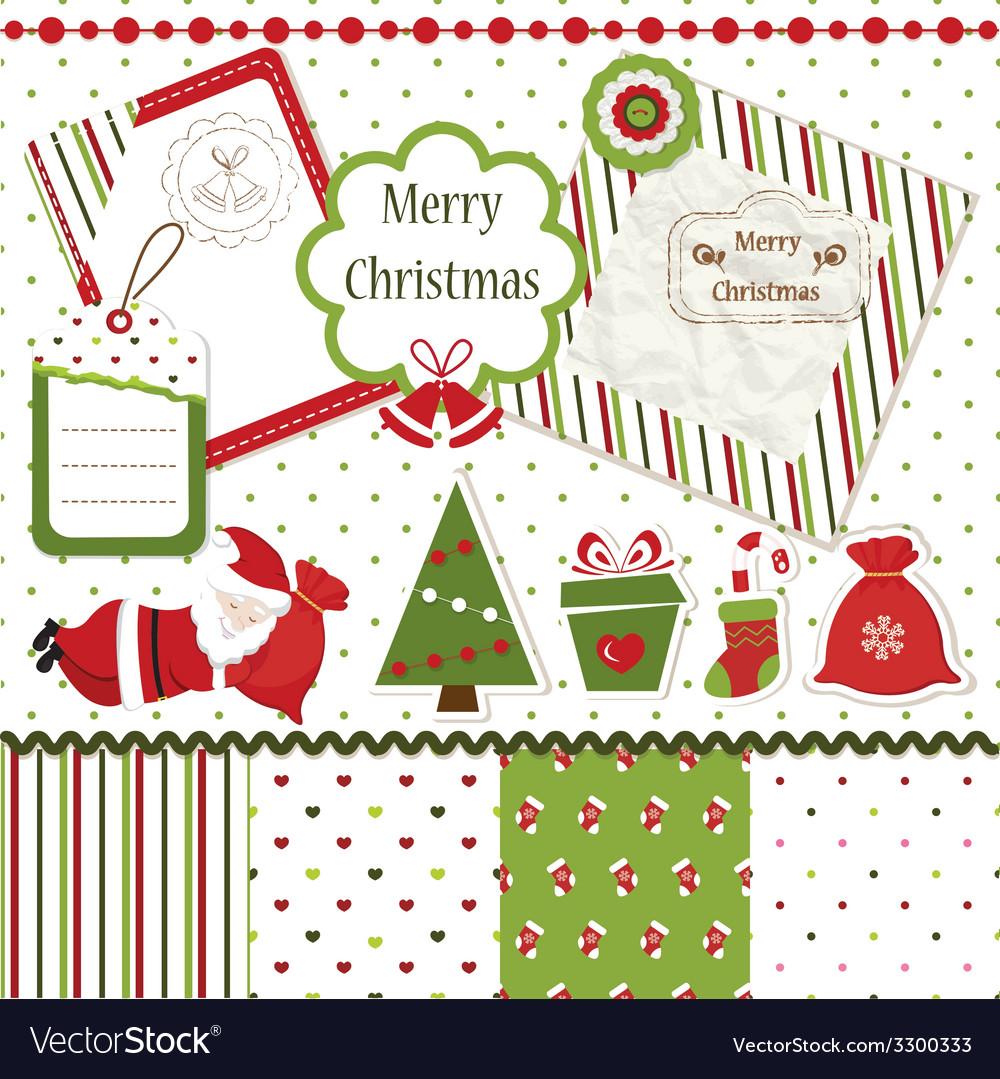 Christmas scrapbook set vector | Price: 1 Credit (USD $1)