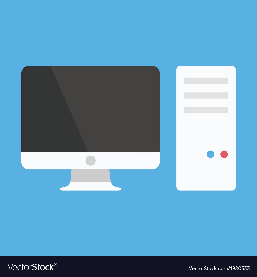 Computer system unit and monitor icon vector | Price: 1 Credit (USD $1)