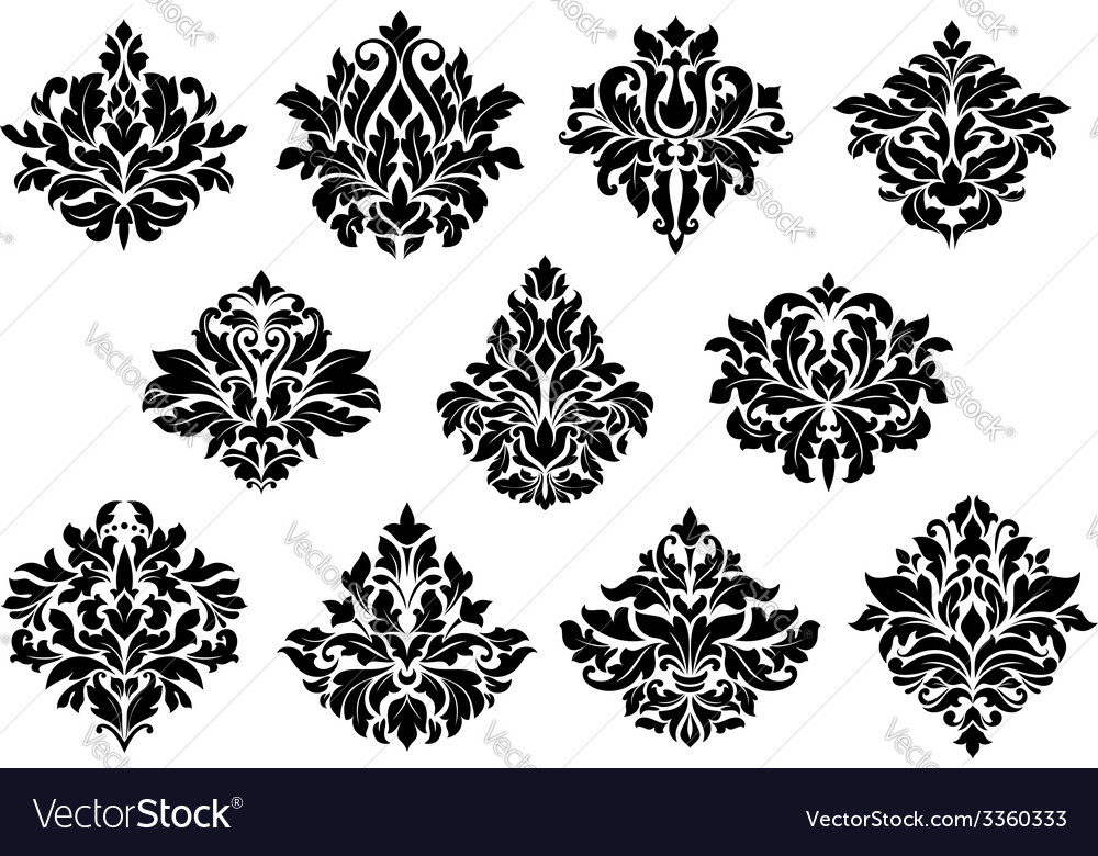 Damask floral design elements vector | Price: 1 Credit (USD $1)