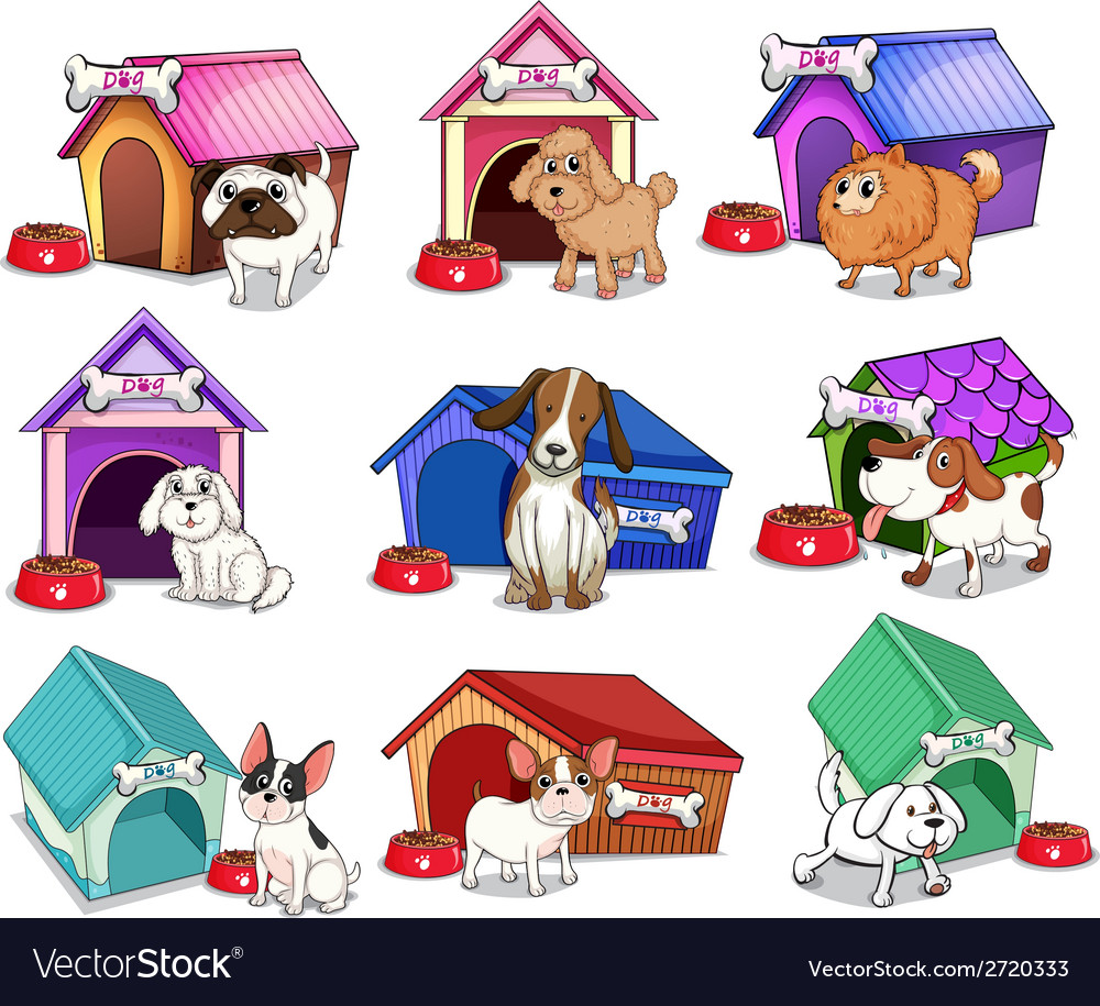 Dogs with houses vector | Price: 1 Credit (USD $1)