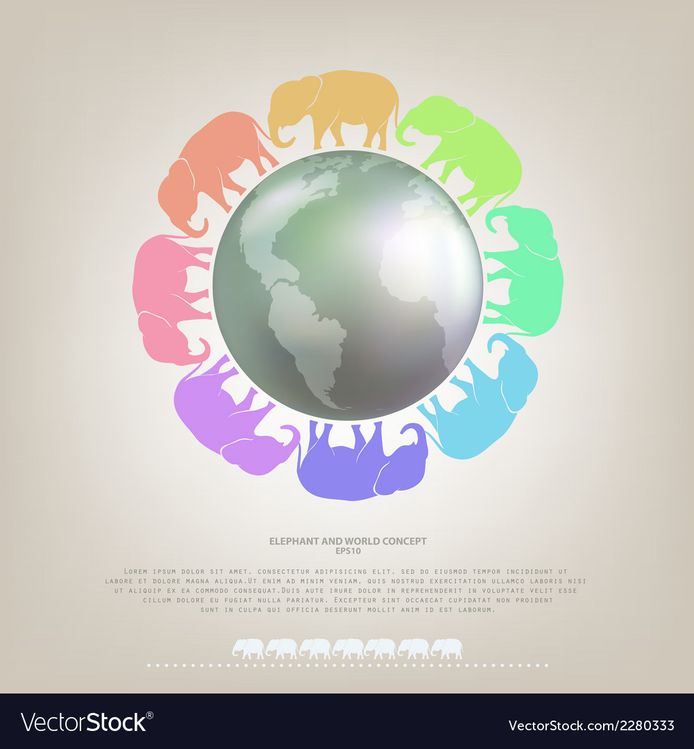 Elephant walk around the world concept background vector | Price: 1 Credit (USD $1)