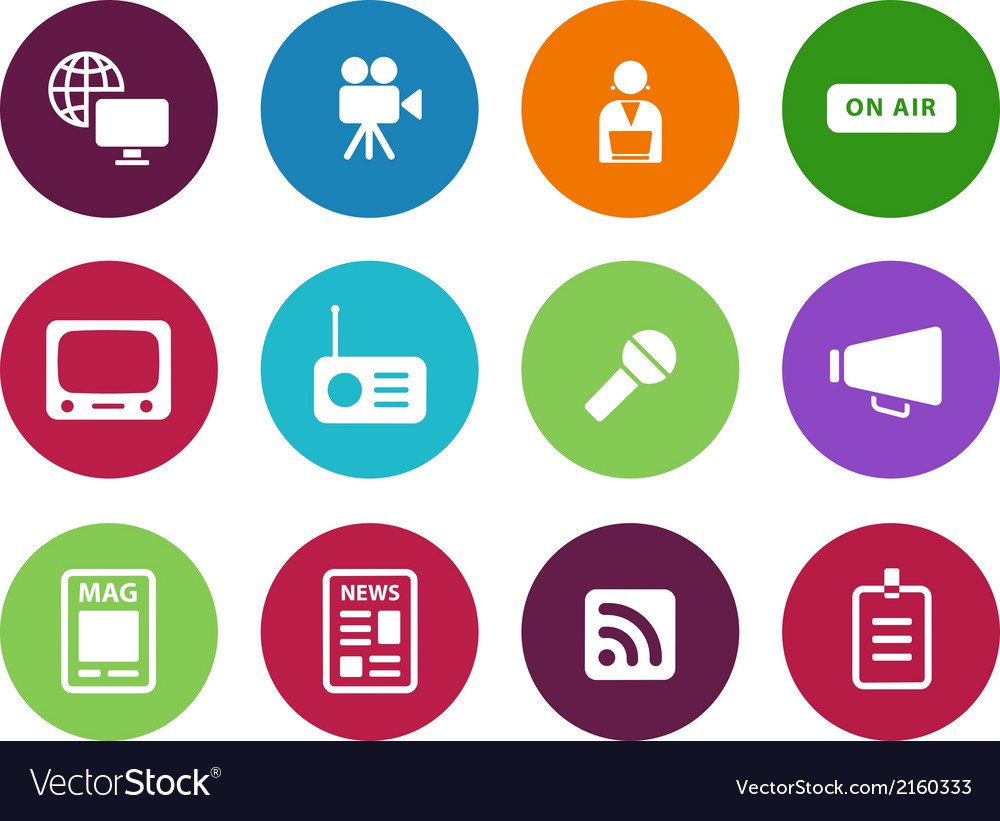 Media circle icons on white background vector | Price: 1 Credit (USD $1)