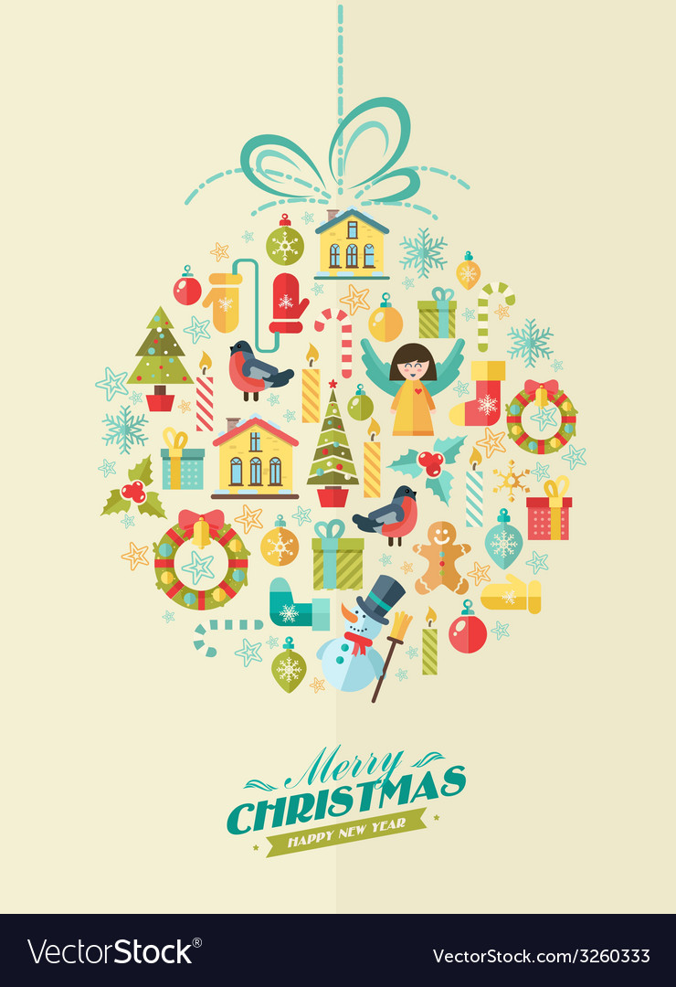 Merry christmas winter background vector | Price: 1 Credit (USD $1)