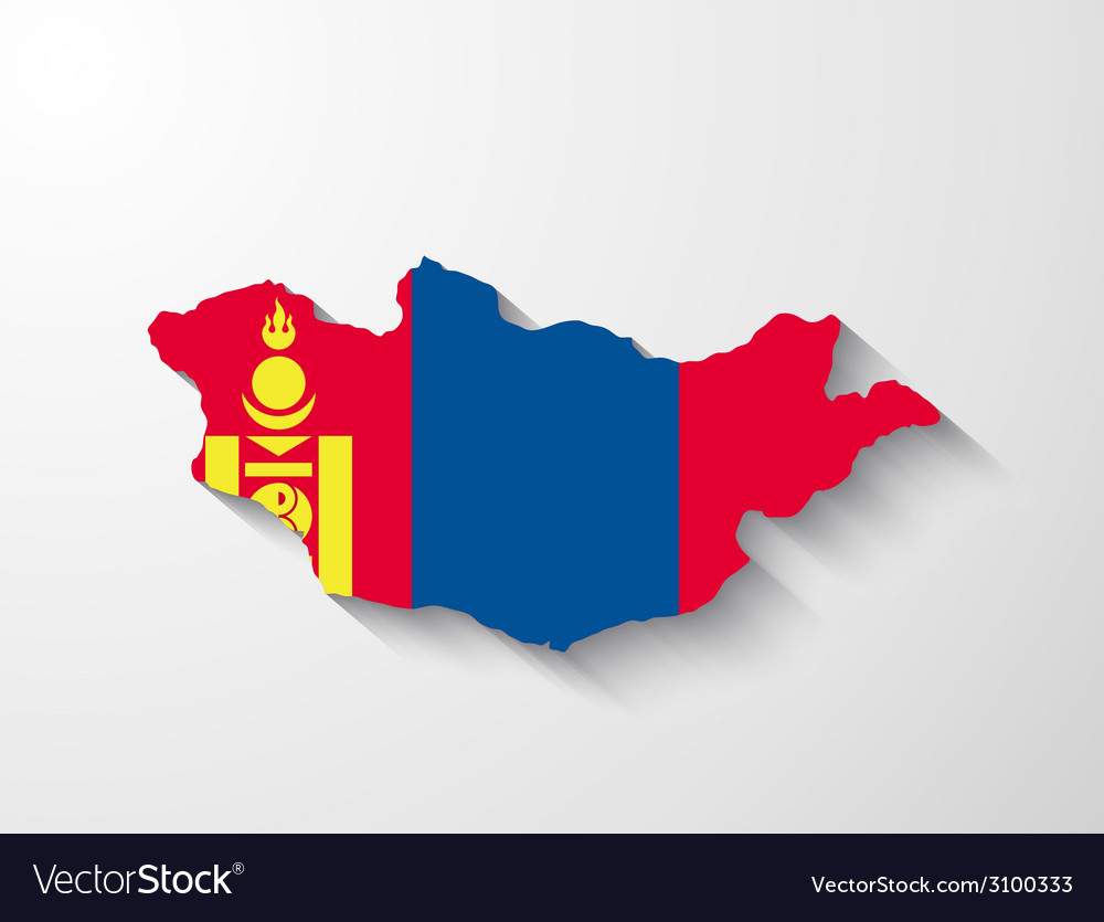 Mongolia map with shadow effect vector | Price: 1 Credit (USD $1)