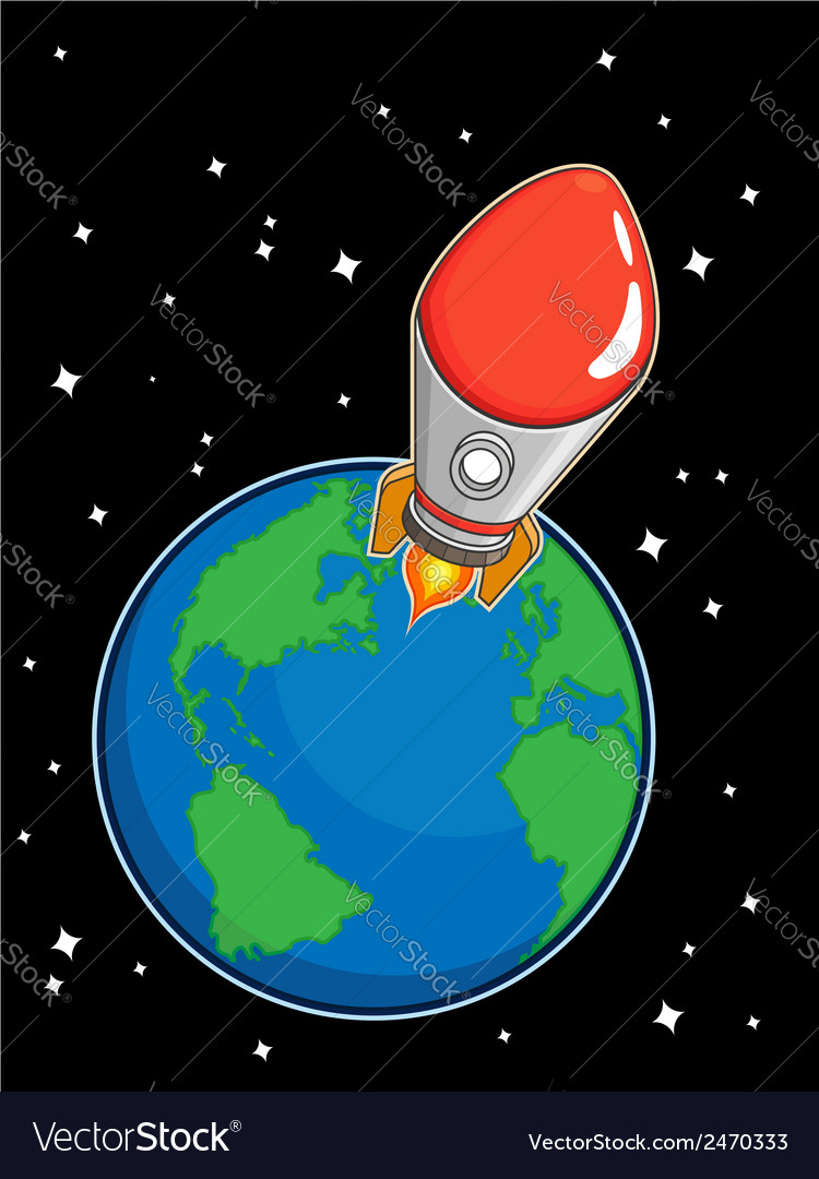 Rocket fly from earth vector | Price: 1 Credit (USD $1)
