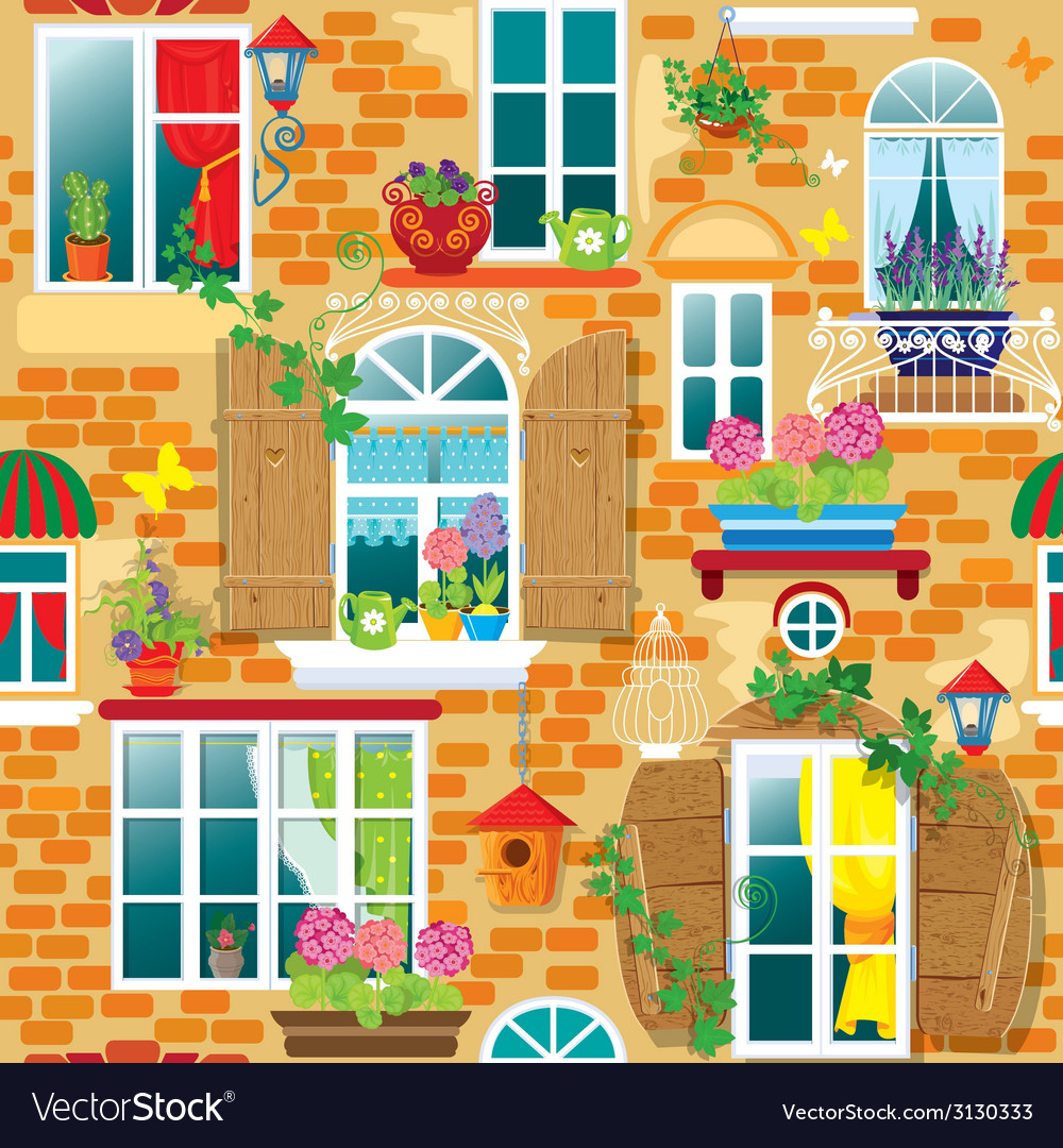 Seamless pattern with windows and flowers in pots vector | Price: 1 Credit (USD $1)