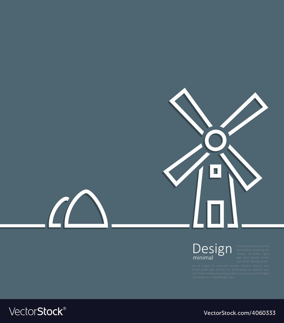 Village landscape windmill haystack design minimal vector | Price: 1 Credit (USD $1)