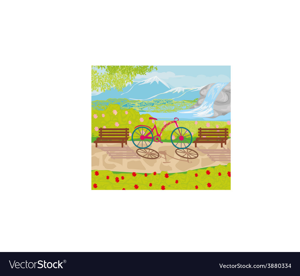 Bicycle stands in the park between the benches vector | Price: 1 Credit (USD $1)