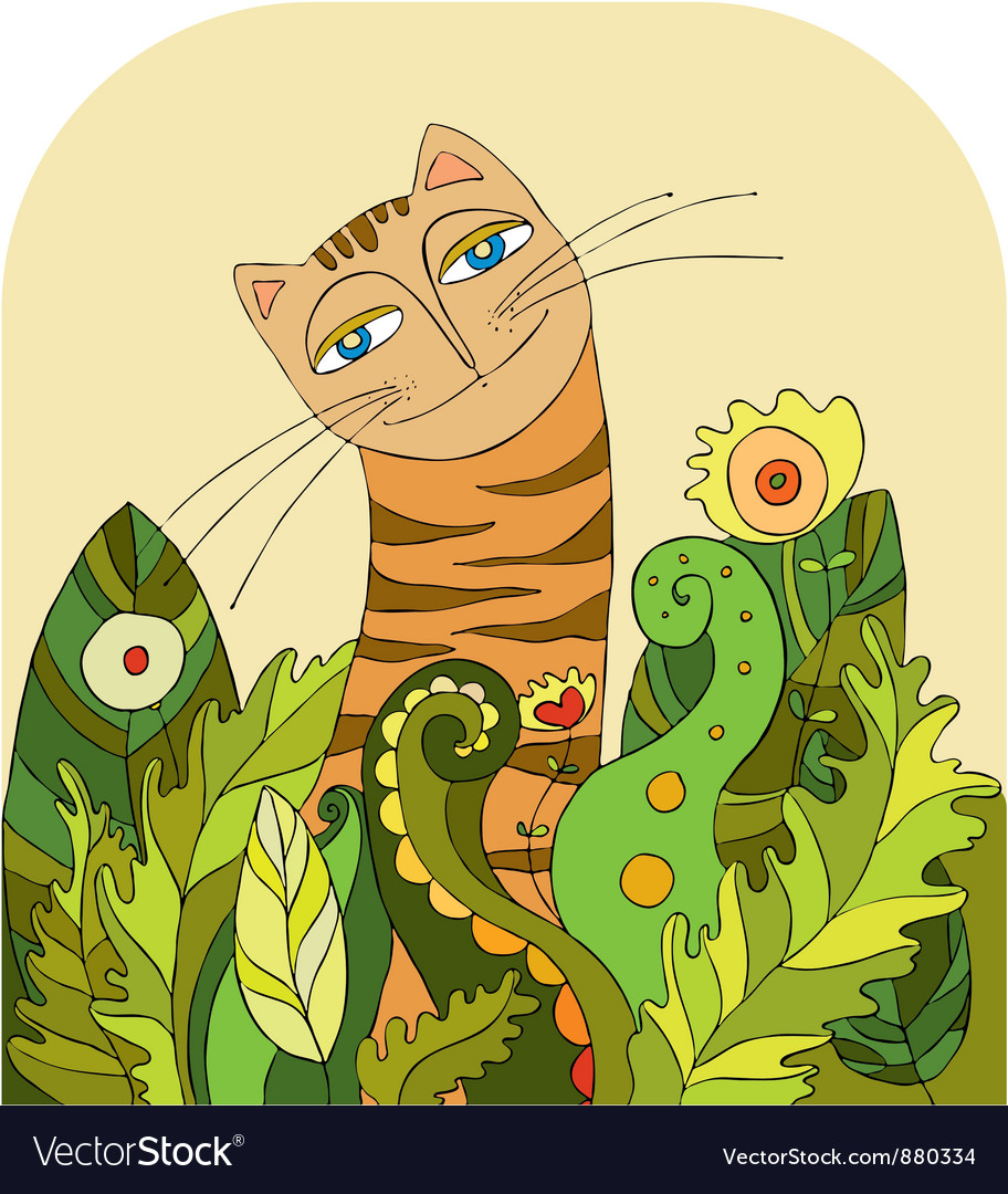 Cat head grass vector | Price: 1 Credit (USD $1)