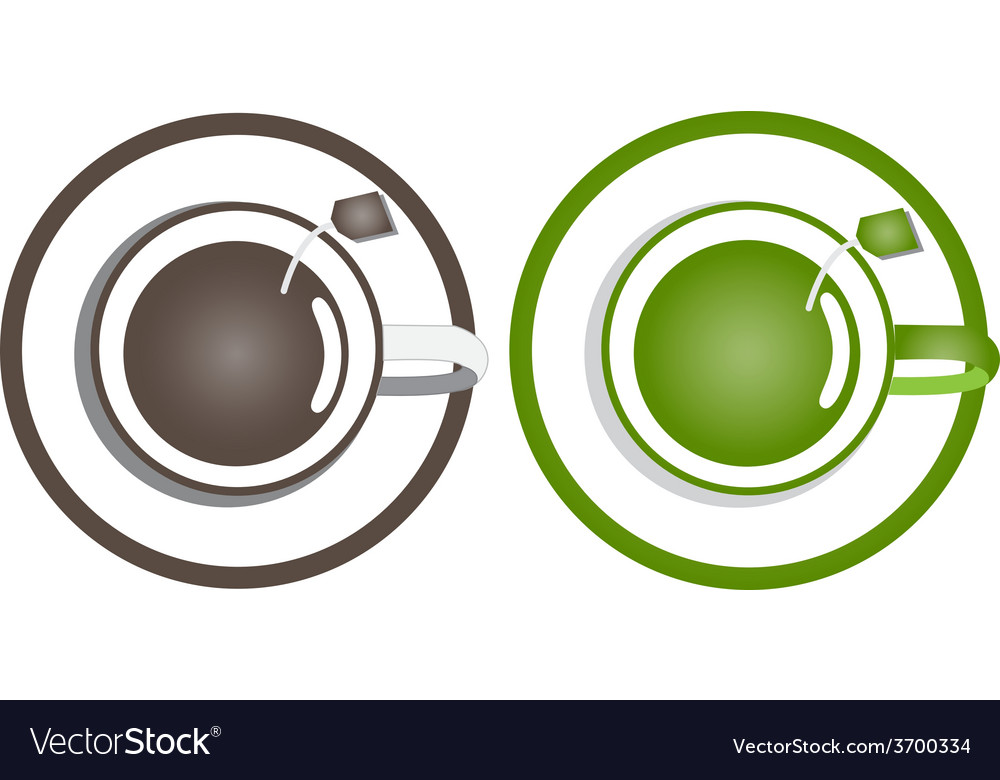 Coffee and green tea in a cup on a white vector | Price: 1 Credit (USD $1)
