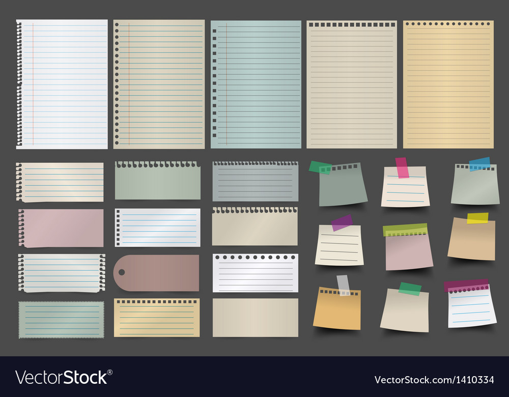 Collection of various note paper vector | Price: 1 Credit (USD $1)
