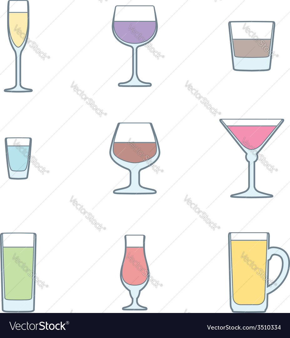 Color outline alcohol glasses icon set vector | Price: 1 Credit (USD $1)