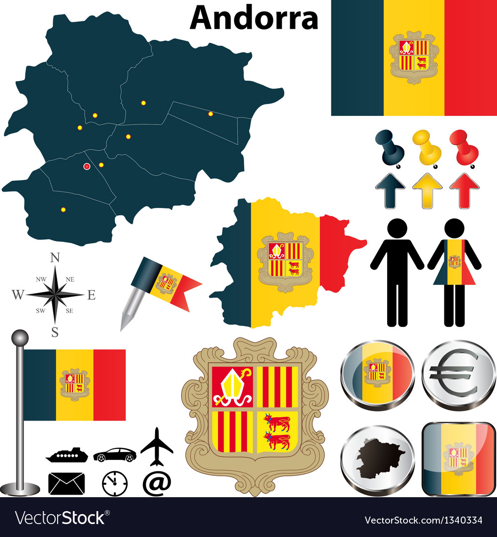 Map of andorra vector | Price: 1 Credit (USD $1)