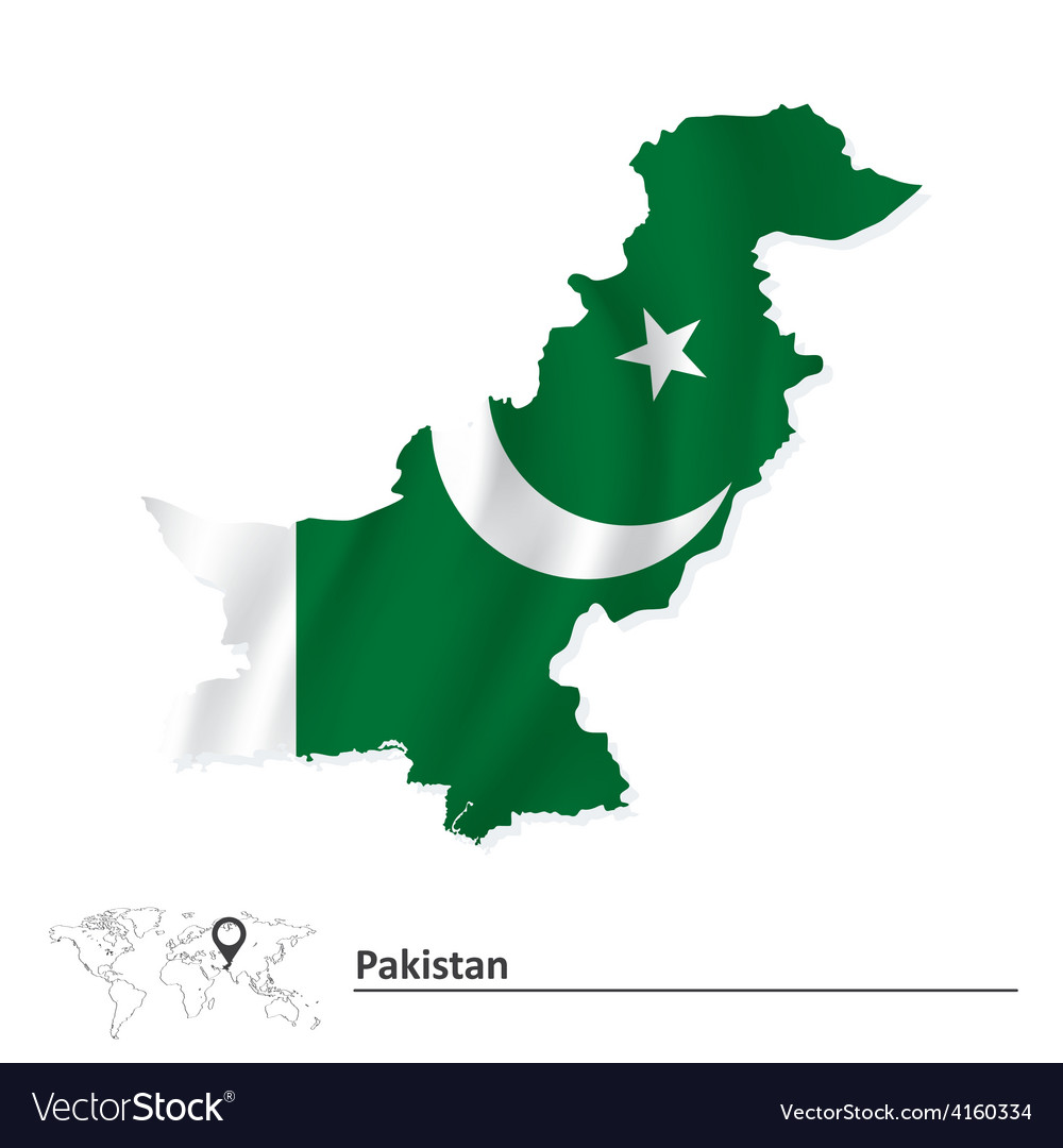 Map of pakistan with flag vector | Price: 1 Credit (USD $1)