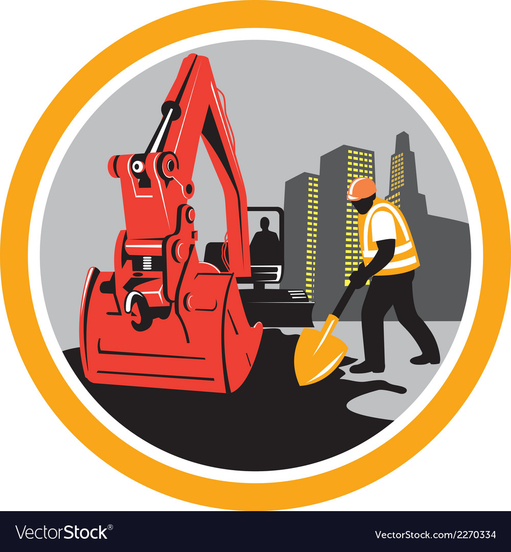 Mechanical digger construction worker circle vector | Price: 1 Credit (USD $1)