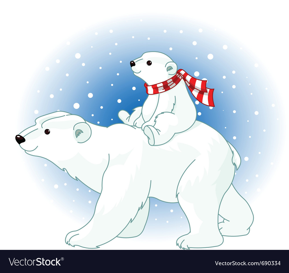 Polar bear mom and baby vector | Price: 3 Credit (USD $3)