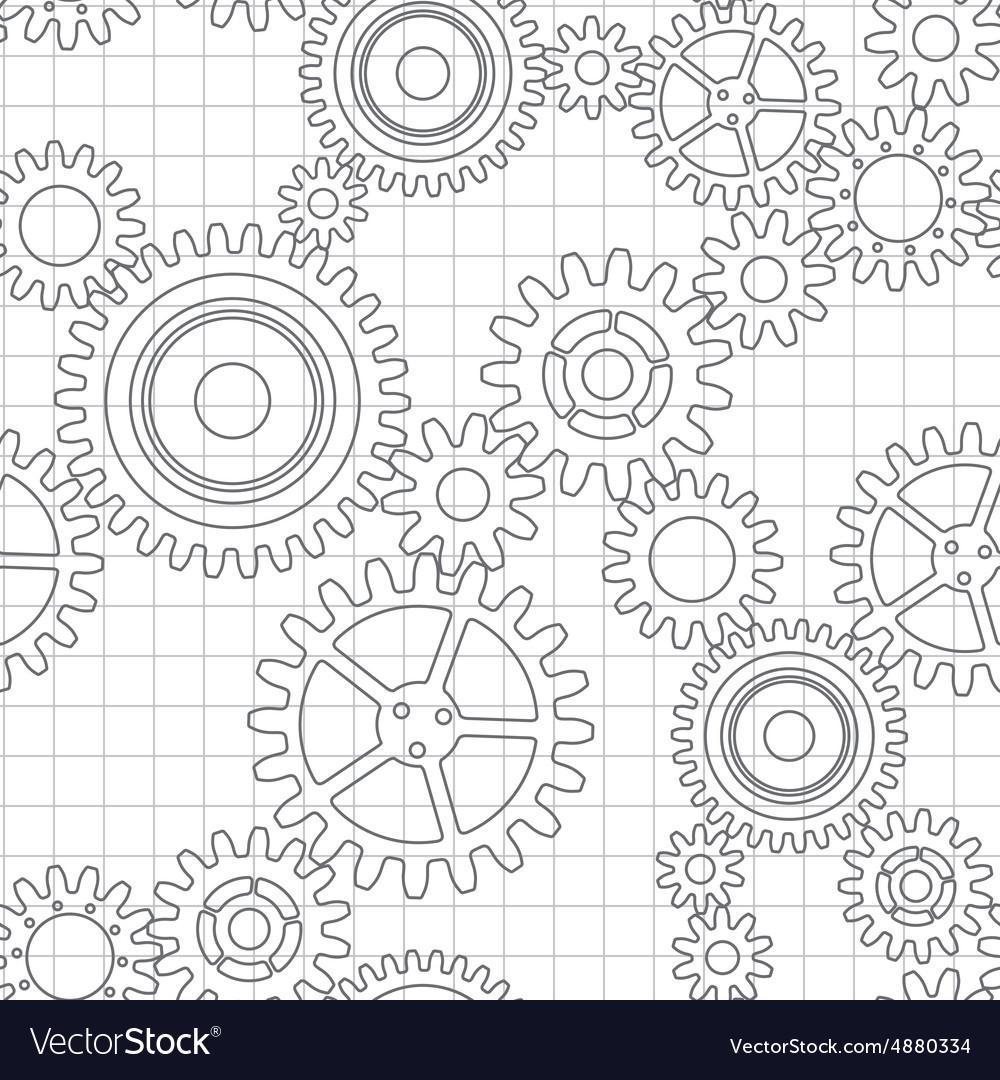 Seamless pattern of gear wheels vector