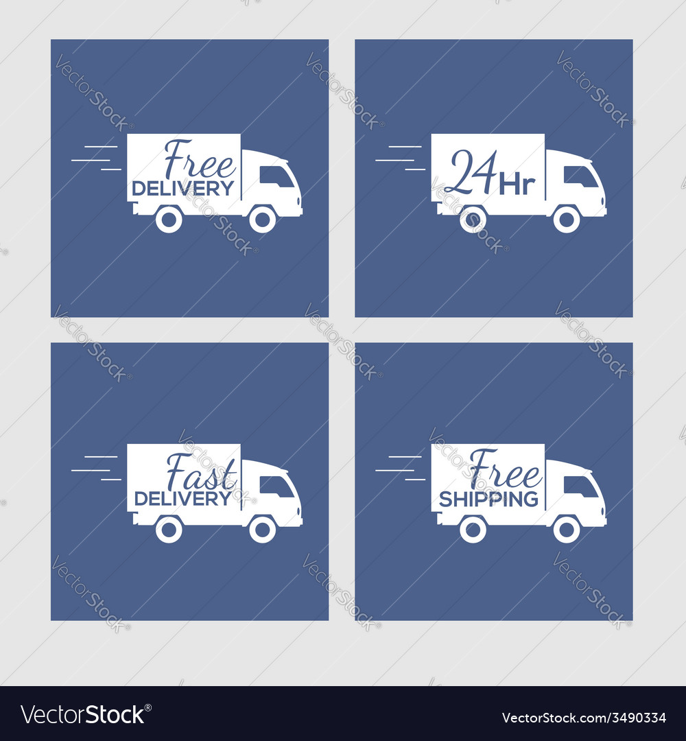 Set of icons with delivery car on square vector | Price: 1 Credit (USD $1)