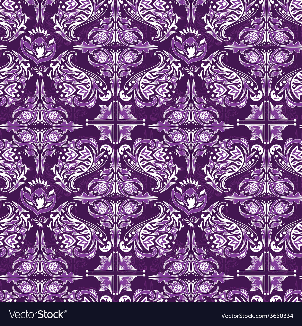 White on purple damask pattern vector | Price: 1 Credit (USD $1)