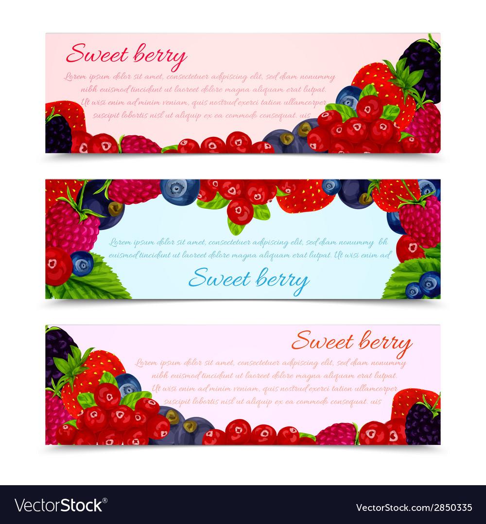 Berries banners set horizontal vector | Price: 1 Credit (USD $1)