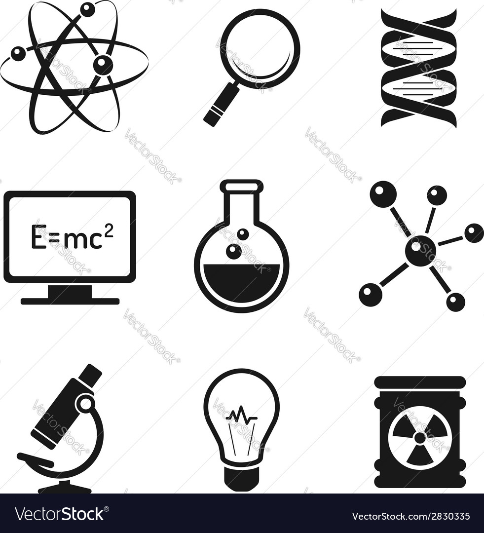 Chemistry and science icons set vector | Price: 1 Credit (USD $1)