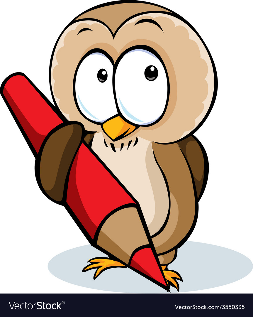 Cute owl hold pencil cartoon - isolated on w vector | Price: 1 Credit (USD $1)