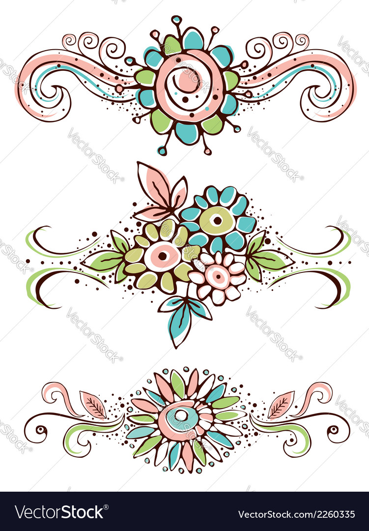 Decorative ornaments with hand draw flowers vector | Price: 1 Credit (USD $1)