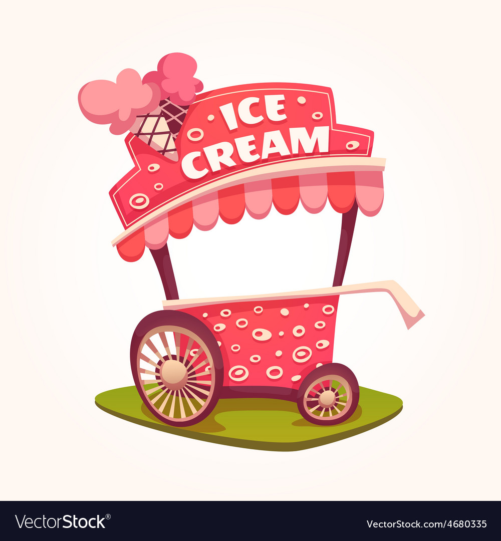 Flat of ice cream cart vector | Price: 5 Credit (USD $5)