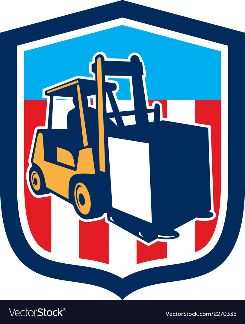 Forklift truck materials logistics shield retro vector | Price: 1 Credit (USD $1)