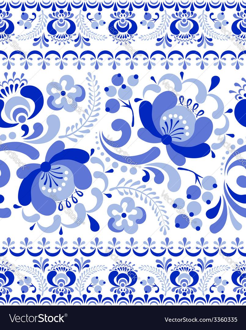Gzhel seamless pattern vector | Price: 1 Credit (USD $1)