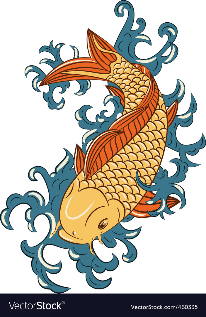 Japanese style koi carp fish vector | Price: 1 Credit (USD $1)