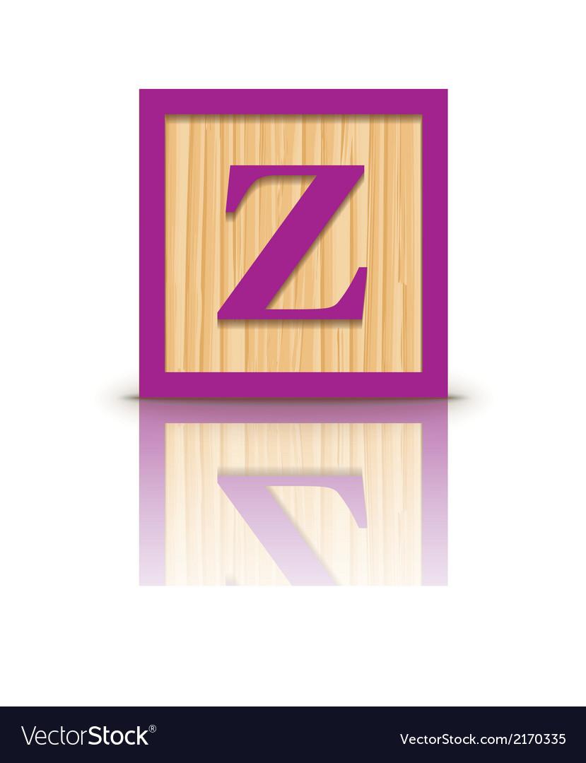 Letter z wooden alphabet block vector   Price: 1 Credit (USD $1)