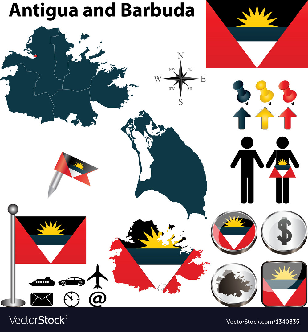 Map of antigua and barbuda vector   Price: 1 Credit (USD $1)