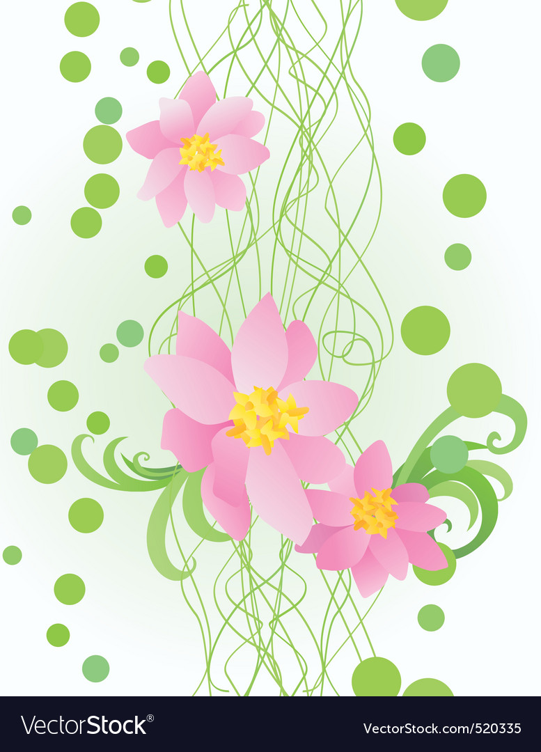 pink flowers on ornate green background vector | Price: 1 Credit (USD $1)