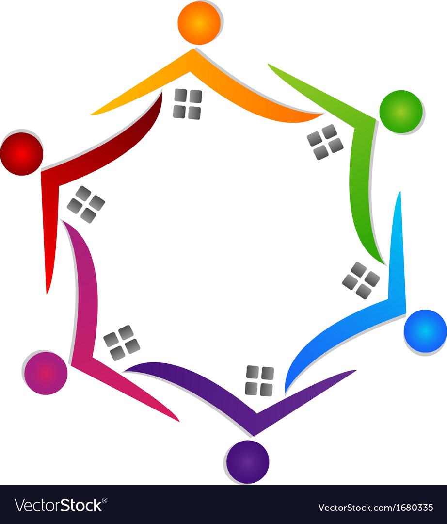 Real estate teamwork people logo vector | Price: 1 Credit (USD $1)