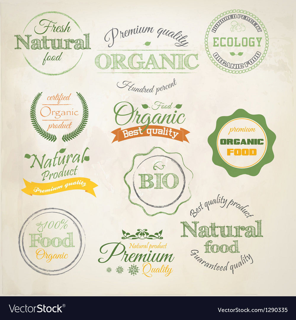 Retro styled organic labels vector | Price: 3 Credit (USD $3)