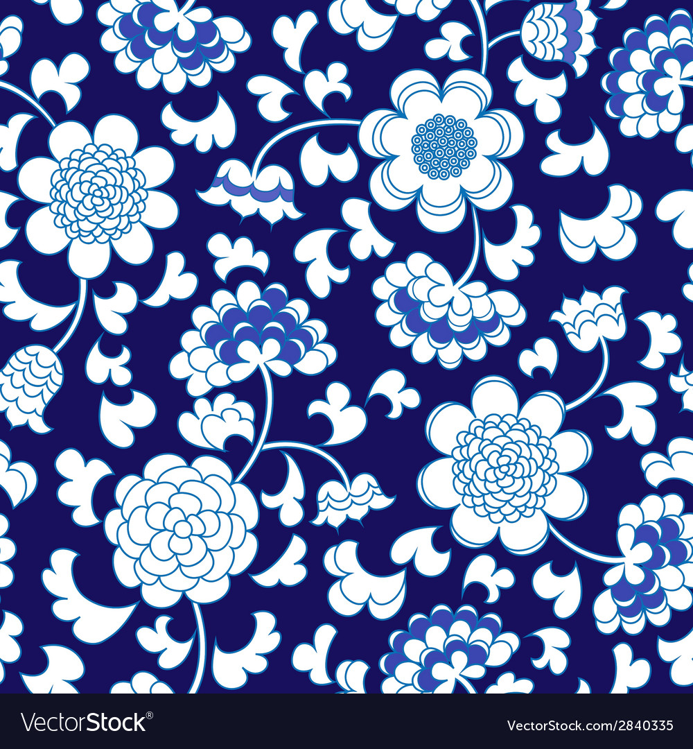 Seamless blue floral porcelain china background vector | Price: 1 Credit (USD $1)