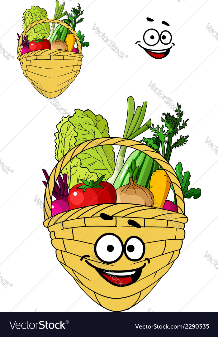 Shopping basket with healthy groceries vector | Price: 1 Credit (USD $1)