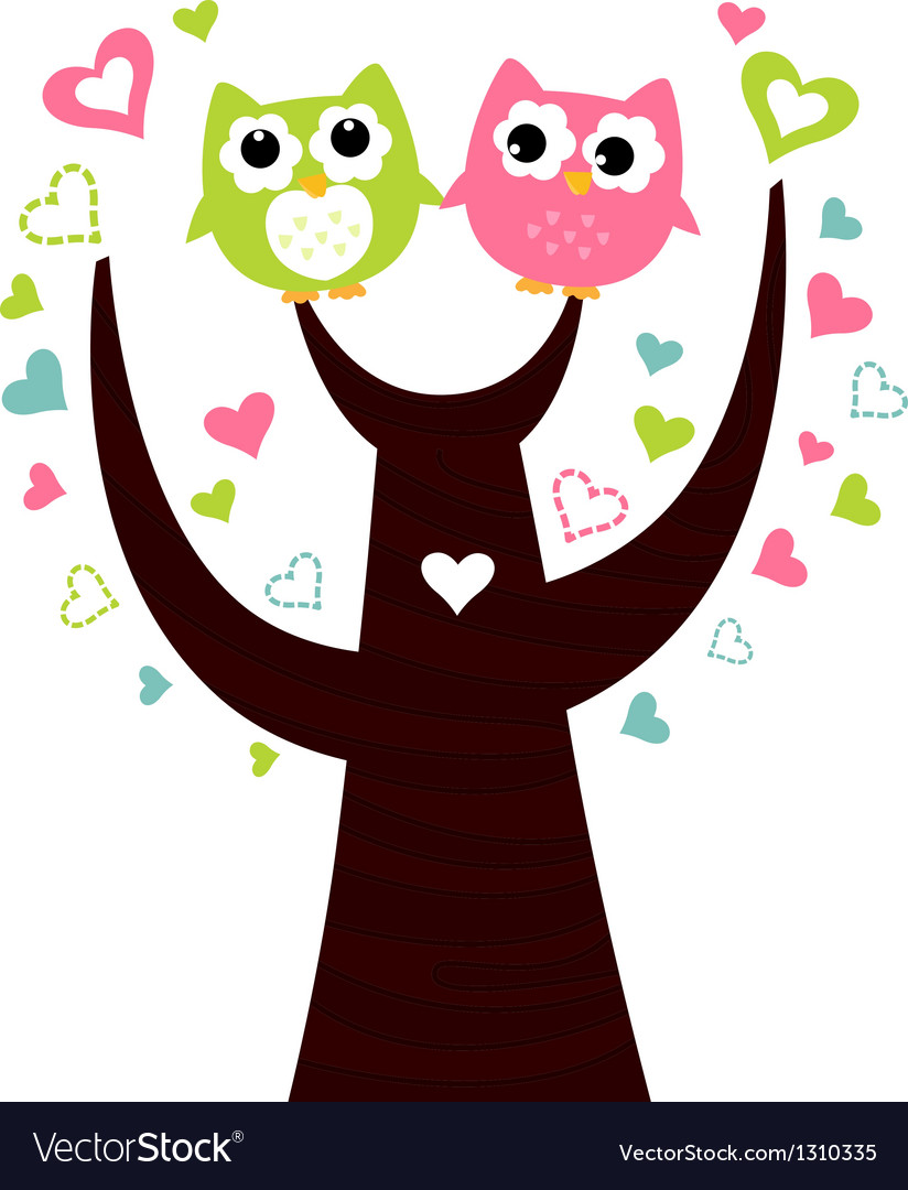 Two cute owls sitting on love tree vector | Price: 1 Credit (USD $1)
