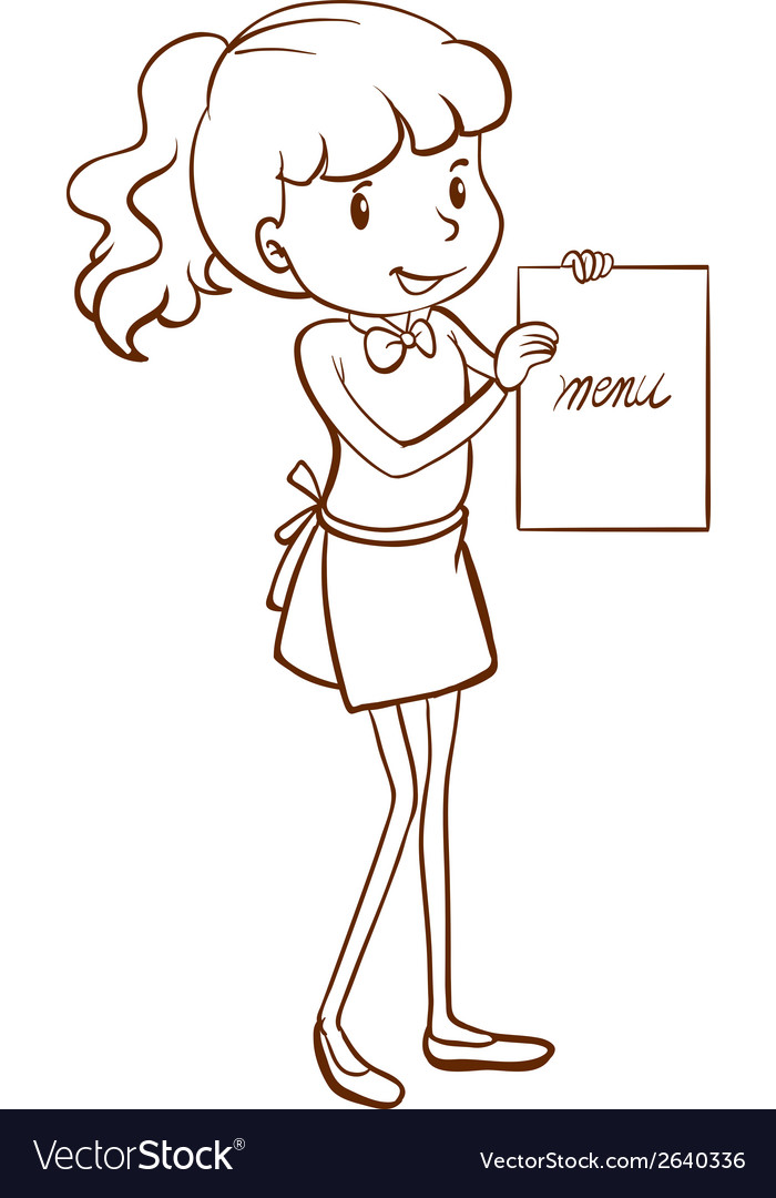 A waitress holding the menu vector | Price: 1 Credit (USD $1)
