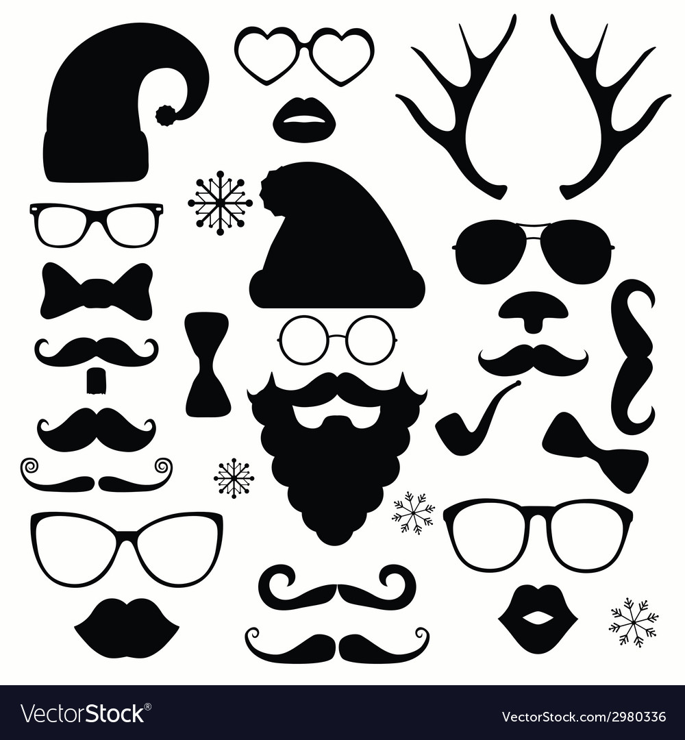 Christmas fashion silhouette set hipster style vector | Price: 1 Credit (USD $1)