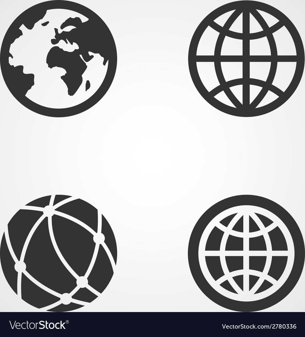 Earth globe icons set flat design vector | Price: 1 Credit (USD $1)