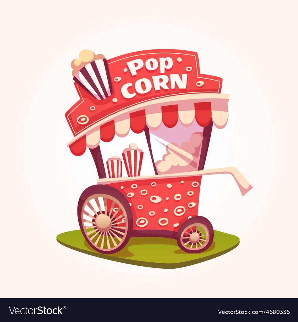 Flat of pop corn cart vector | Price: 5 Credit (USD $5)