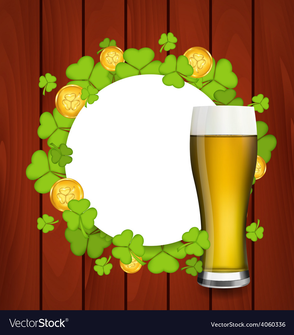 Greeting card with glass of light beer shamrocks vector | Price: 1 Credit (USD $1)