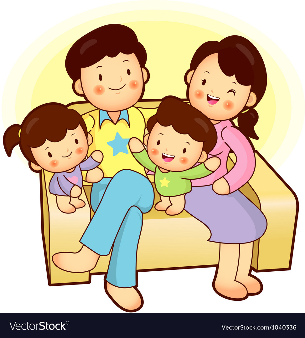 Happy family sitting vector | Price: 3 Credit (USD $3)