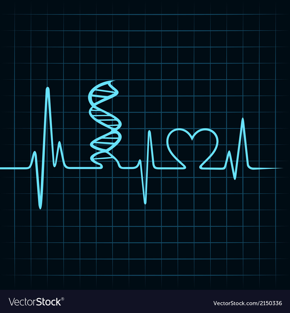 Heartbeat make dna stand and heart symbol vector | Price: 1 Credit (USD $1)
