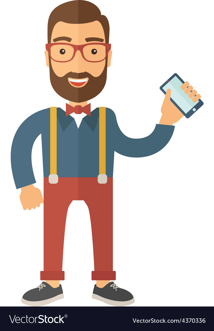 Man standing holdingn his phone vector